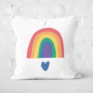 Rainbow And Heart Square Cushion