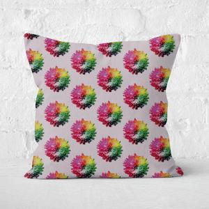 Fluro Flower Pattern Light Square Cushion