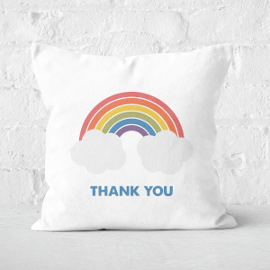 Rainbow With Clouds Thank You Square Cushion