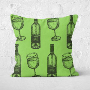 White Wine And Bottle Square Cushion