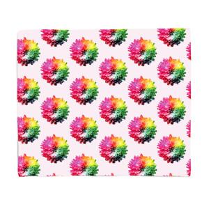 Fluro Flower Pattern Light Fleece Blanket