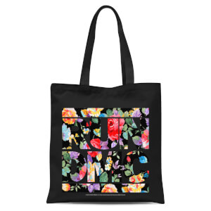Floral RUN DMC Tote Bag - Zwart