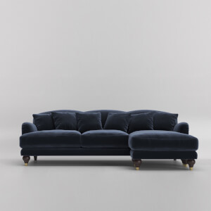 Swoon Holton Velvet Corner Sofa - Right Hand Side