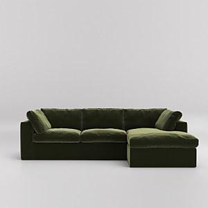 Swoon Seattle Velvet Corner Sofa - Right Hand Side
