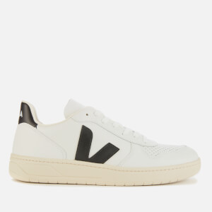 Veja Men's V-10 Leather Trainers - Extra White/Black