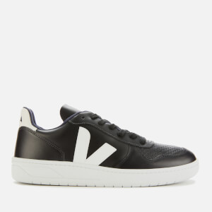 Veja Men's V-10 Leather Trainers - Black/White/White Sole