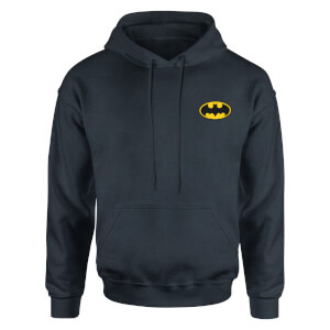 DC Batman Logo Embroidered Kids' Piped Hoodie - Navy