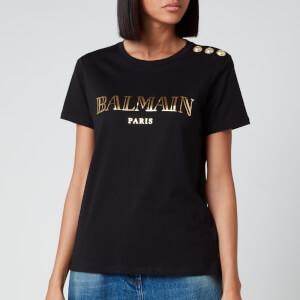Balmain Women's Short Sleeve 3 Button Vintage Logo T-Shirt - Black