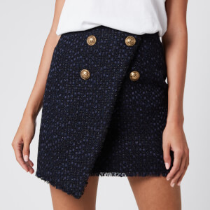 Balmain Women's Asymmetric 4 Button Tweed Wrap Skirt - Blue