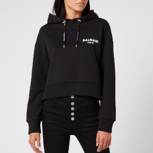Balmain Women's Cropped Flocked Logo Detail Hoodie - Black