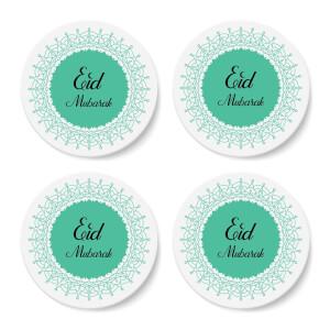 Eid Mubarak Earth Tone Mandala Coaster Set