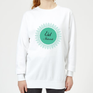 Eid Mubarak Earth Tone Wreath Women's Sweatshirt - White