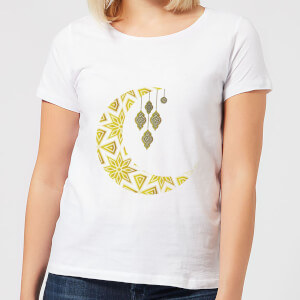 Eid Mubarak Pattern Moon Women's T-Shirt - White