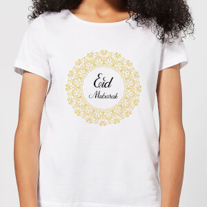 Eid Mubarak Golden Wreath Women's T-Shirt - White