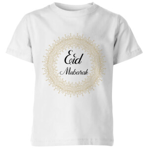 Eid Mubarak Golden Mandala Kids' T-Shirt - White