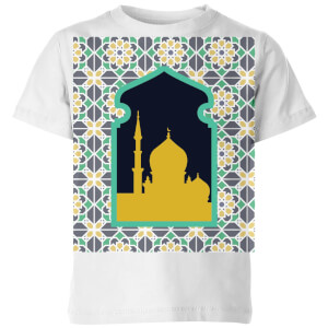 Eid Mubarak Earth Tone Print And Window Frame Kids' T-Shirt - White