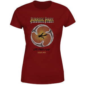 Camiseta Jurassic Park Life Finds A Way Tour - Mujer - Granate