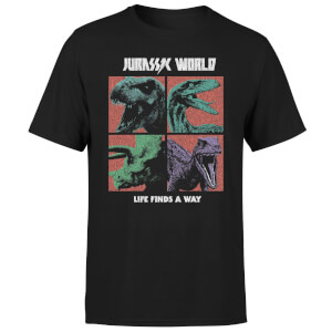 Camiseta Jurassic Park World Four Colour Faces - Hombre - Negro