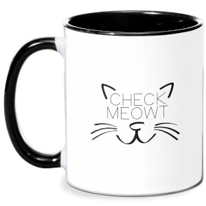 Check Meowt Mug - White/Black