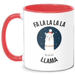 Fa La La La Llama Mug - White/Red