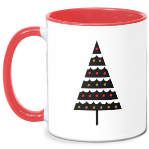 Dark Christmas Tree Mug - White/Red