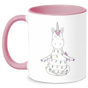 Unicorn Wrapped In Christmas Lights Mug - White/Pink
