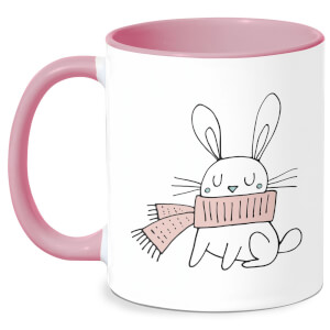 Christmas Rabbit Mug - White/Pink