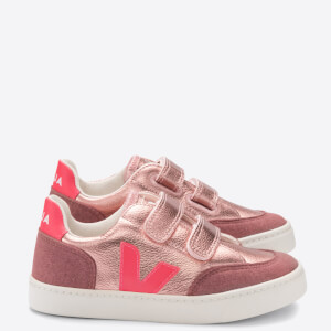 Veja Toddlers' V-12 Velcro Trainers - Nacre/Rose/Fluo