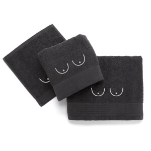 Boobs Cotton Embroidered Towel Bale - Grey