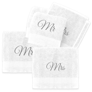 Mr & Mrs Cotton Embroidered Towel Bale - White