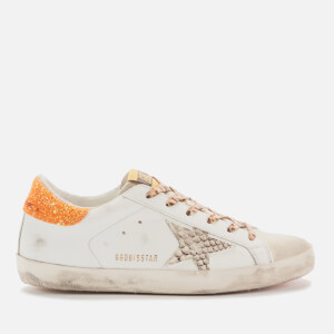 Golden Goose Deluxe Brand Women's Superstar Leather Trainers - White/Rock Snake/Orange