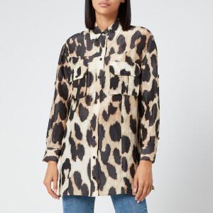 Ganni Women's Silk Linen Shirt - Maxi Leopard