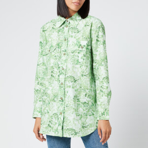 Ganni Women's Printed Cotton Poplin Shirt - Island Green