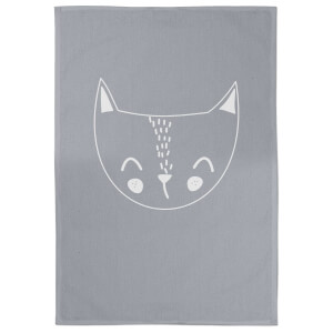 Cat Cotton Grey Tea Towel