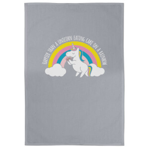 Happier Than A Unicorn Eating Cake On A Rainbow Cotton Grey Tea Towel