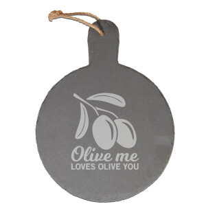 Olive Me Loves Olive You Engraved Slate Cheese Board