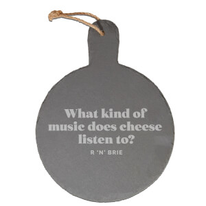 What Kind Of Music Does Cheese Listen To? Engraved Slate Cheese Board