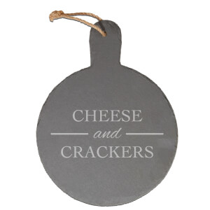 Cheese And Crackers Engraved Slate Cheese Board