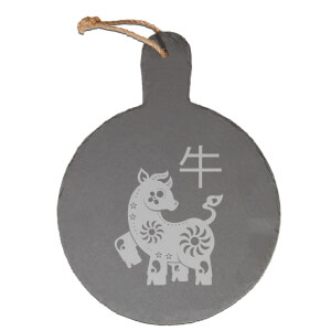 Chinese Zodiac Ox Engraved Slate Cheese Board