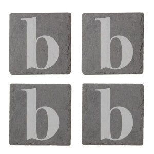 Lowercase B Engraved Slate Coaster Set