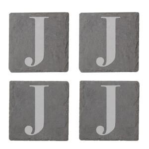 Uppercase J Engraved Slate Coaster Set