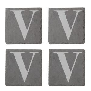 Uppercase V Engraved Slate Coaster Set