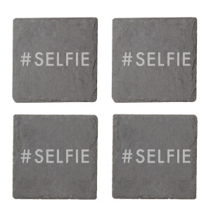 #Selfie Engraved Slate Coaster Set