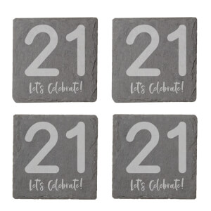 21 Let's Celebrate Engraved Slate Coaster Set