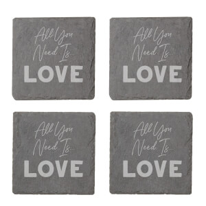 All You Need Is Love Engraved Slate Coaster Set