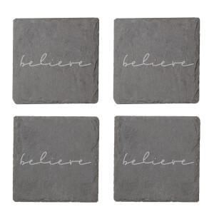 Believe Engraved Slate Coaster Set