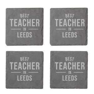 Best Teacher In Leeds Engraved Slate Coaster Set