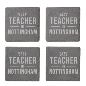 Best Teacher In Nottingham Engraved Slate Coaster Set