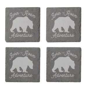 Born To Roam Adventure Engraved Slate Coaster Set