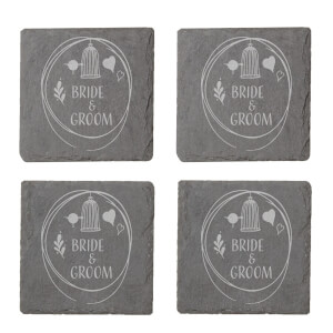 Bride & Groom Engraved Slate Coaster Set